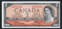 1954 $2 BANK OF CANADA DEVIL'S FACE HAIR. BEAUTIFUL CONDITION. AU . BC 30B