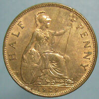 FULL RED BU 1929 GEORGE V HALF PENNY WITH NEAT REVERSE LAMINATION