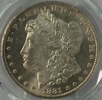 1881 CC MORGAN SILVER DOLLAR PCGS MINT STATE 63 CERTIFIED $1 COIN  $530 VALUE