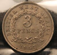 1957 H BRITISH WEST AFRICA 3 PENCE  THREEPENCE. MS 60 ICCS CORROSION. KM35