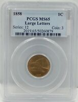 1858 LARGE LETTERS FLYING EAGLE CENT - PCGS CERTIFIED MINT STATE 65