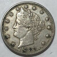 1889 EXTRA FINE  LIBERTY V NICKEL. LOT1UD