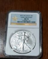 2013-W  BURNISHED SILVER EAGLE NGC MS70 WEST POINT STAR LABEL TAKE A LOOK