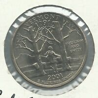2001 D USA STATEHOOD QUARTER VERMONT UNCIRCULATED THIS IS A