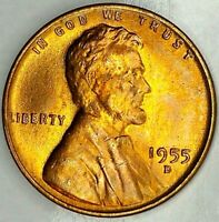 1955-D 1C LINCOLN WHEAT CENT 19RR0623 BU RED ONLY 50 CENTS FOR SHIPPING