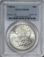 1889 S MORGAN SILVER DOLLAR PCGS MINT STATE 65 - BRILLIANT WHITE AND QUITE