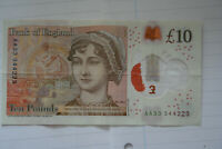 NEW POLYMER 10 NOTE. LOW AA33 PREFIX SERIAL NUMBER VGC