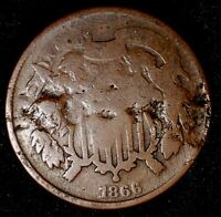 1866-P 2C COPPER TWO CENT PIECE 17HCT1108-2 ONLY 50 CENTS FOR SHIPPING