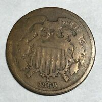 1866 COPPER US TWO CENT PIECE.  LOTK7 2C GOOD, HIT ON EDGE.