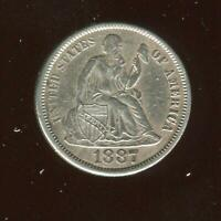 1887 SEATED LIBERTY DIME | ALMOST UNCIRCULATED | SILVER | PHILADELPHIA | CP1856