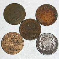 FIVE COPPER US TWO CENT PIECES. ALL ARE UGLY PROBLEM COINS.1866 & 4 1867.  NR