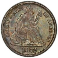 1872 SEATED DIME PCGS MINT STATE 64 CAC CHOICE ORIGINAL