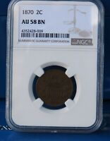 1870 2C TWO CENT PIECE NGC AU58BN  GLOSSY BROWN