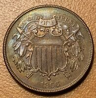 1866 2 CENTS IN ALMOST TO UNCIRCULATED CONDITION M256