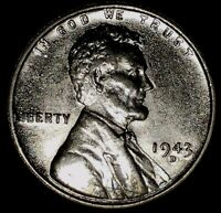 1943-D 1C LINCOLN WHEAT CENT 17RR0909 UNC ONLY 50 CENTS FOR SHIPPING