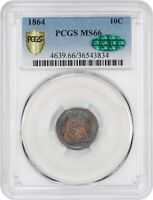 1864 10C MINT STATE 66 PCGS CAC SEATED LIBERTY DIME APR $17,625 TONED COLOR
