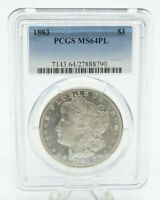 1883 MORGAN SILVER ONE DOLLAR $1 PCGS MINT STATE 64PL COIN