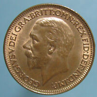 1928 GEORGE V FARTHING   SHARP BORDERLINE GEM RED & BROWN COIN