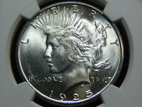 1925-S $1 PEACE DOLLAR MINT STATE 63 NGC, WHITE  JUST GRADED