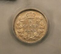 1901 CANADA SILVER 5 CENTS SEGS MS 60 UNCIRCULATED. TONED. BV $200