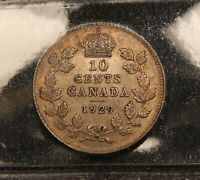 1929 CANADA SILVER 10 CENTS EF 40 ICCS CERTIFIED COIN.