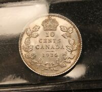 1936 CANADA SILVER 10 CENTS AU 58 ICCS. BLAST WHITE & FROSTY. LOOKS UNC.