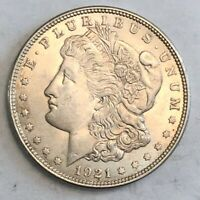 1921 SATIN WHITE BU MORGAN SILVER DOLLAR. LOTNA4