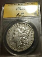 1900-S $1 MORGAN DOLLAR ANACS VF35 DETAILS CLEANED
