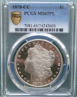1878 CC $1 MORGAN SILVER DOLLAR PCGS MINT STATE 65 PL PROOFLIKE-INVESTMENT GRADE GEM-