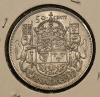 1937 CANADA SILVER 50 CENTS. EF40. BETTER DATE HALF DOLLAR COIN.