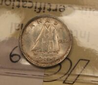 1938 CANADA SILVER 10 CENTS AU 58 ICCS CERTIFIED. BV $65