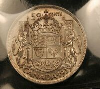 1939 CANADA SILVER 50 CENTS EF 40 ICCS CERTIFIED. BETTER DATE.