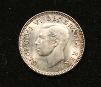 1952 CANADA SILVER 10 CENTS. MS64 OR BETTER KING GEORGE VI DIME. BV $30