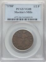1788 MACHIN'S MILLS COLONIAL GRADED VG 8 BY PCGS  NICE GLOSS