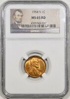 1954-S LINCOLN CENT NGC MINT STATE 65 RD