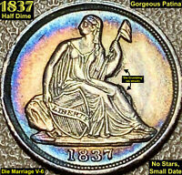 1837 LIBERTY SEATED SILVER HALF DIME   NO STARS SMALL DATE   AWESOME TONING