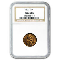 1931-S LINCOLN CENT MINT STATE 65 NGC RED/BROWN - SKU181590