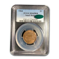 1864 TWO CENT PIECE MINT STATE 65 PCGS CAC RED/BROWN - SKU192092