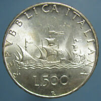 GEM BU 1966 R ITALIAN 500 LIRE   FROSTY COIN WITH GORGEOUS DESIGN