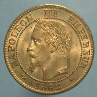 FULL BLAZING RED GEM BU 1862 K FRENCH 2 CENTIMES