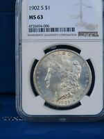 1902-S MORGAN SILVER DOLLAR NGC MINT STATE 63