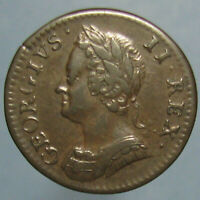 HIGH GRADE 1754 GEORGE II FARTHING   BEAUTIFUL BROWN PATINA
