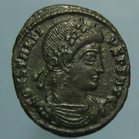EF CONSTANTIUS II GLORIA EXERCITVS AE 4 WITH BEAUTIFUL BLACK PATINA