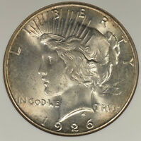 1926-S PEACE DOLLAR NGC MINT STATE 62- GOLD HIGHLIGHTS, PQ FOR THE GRADE