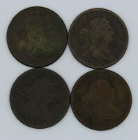 LOT OF 4 UNITED STATES DRAPED BUST HALF CENT COINS 1800 1803