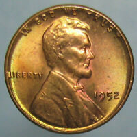BEAUTIFULLY TONED 1952 LINCOLN CENT - GREEN, VIOLET & RED