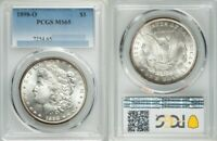 RANDOM SELECTION, 1898-O, MORGAN SILVER DOLLAR, PCGS MINT STATE 65, WHITE OR LIGHT TONING