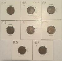 WHEAT CENTS EARLIER DATES LOT OF 8 1909,1913-D,1914,1915,1919,1920,1921,1925-S