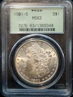 1901 S MORGAN SILVER DOLLAR - PCGS MINT STATE 63 GREEN LABEL