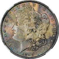 RAINBOW TONED 1898 MORGAN DOLLAR NGC MINT STATE 64